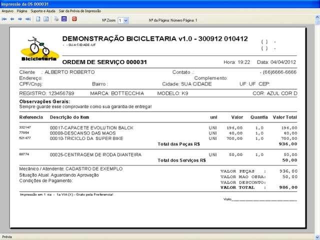 Programa para Loja de Bicicletaria com Serviços e Vendas v1.0 - FpqSystem