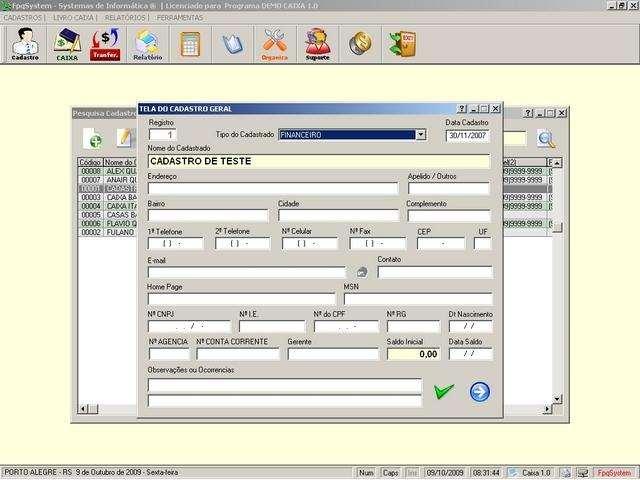 Programa Livro Caixa e Conta Corrente v1.0 - FpqSystem