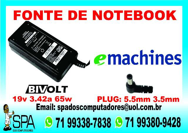 Fonte Carregador Notebook Emachine 19V 3.42a Original Em Salvador Ba