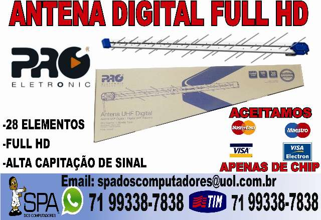 Antena Digital Uhf Full HD 38 Elementos Salvador Ba
