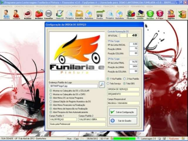 Programa para Lanternagem, Funilaria, Pintura e Serviços Financeiro v2.0 - FpqSystem